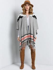 Grey Geometric Print Knit Cardigan