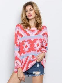 Pink Round Neck Geometric Print Sweater