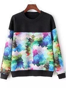 Multicolor Round Neck Graffiti Print Sweater