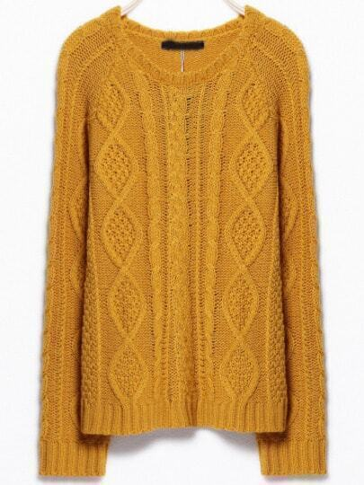 Yellow Round Neck Cable Knit Sweater