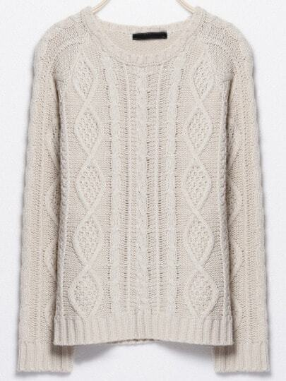 Beige Round Neck Cable Knit Sweater