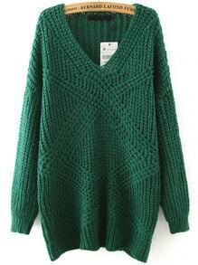 Green V Neck Mohair Loose Sweater