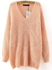 Pink V Neck Mohair Loose Sweater