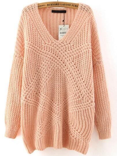 Lose Pullover mit V-Ausschnitt-rosa