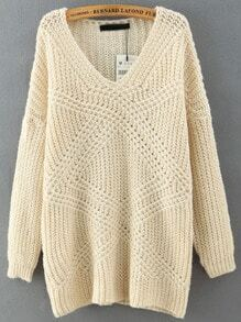 Beige V Neck Mohair Loose Sweater