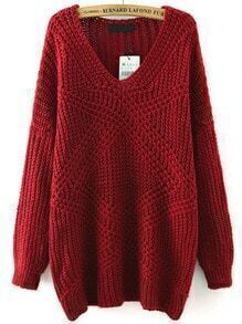 Red V Neck Mohair Loose Sweater