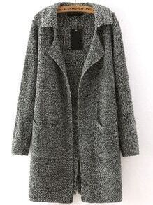 Dark Grey Lapel Long Sleeve Pockets Sweater Coat