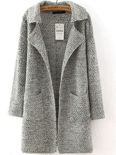 Grey Lapel Long Sleeve Pockets Sweater Coat