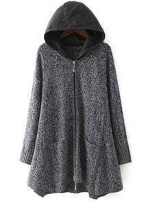 Grey Hooded Long Sleeve Loose Sweater Coat