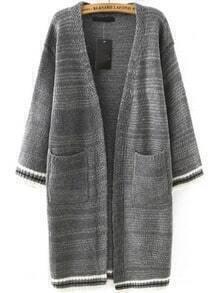 Grey Contrast Trims Pockets Knit Cardigan