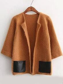 Khaki Half Sleeve Contrast PU Leather Pockets Sweater Coat