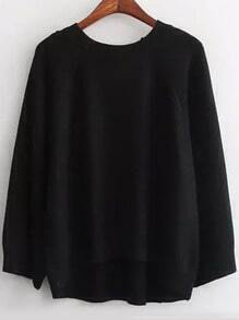 Black Round Neck Dip Hem Casual Sweater