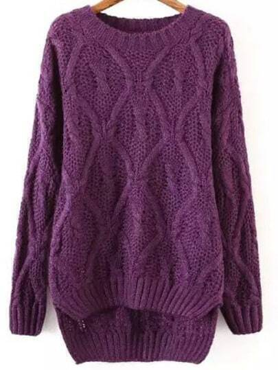 Purple Round Neck Dip Hem Sweater
