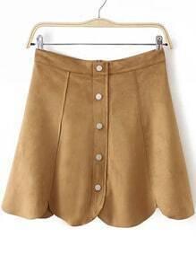 Khaki Buttons Scalloped Skirt