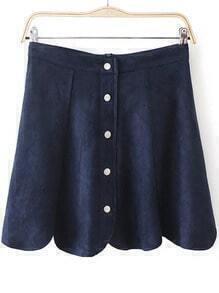 Navy Buttons Scalloped Skirt