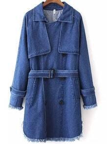 Blue Lapel Belt Fringe Denim Trench Coat