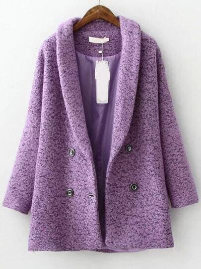 Purple Lapel Double Breasted Woolen Coat