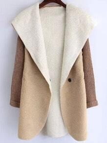 Khaki Hooded Long Sleeve Casual Coat