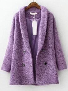 Purple Lapel Double Breasted Woolen Coat