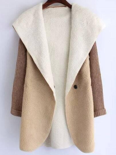 Khaki Hooded Long Sleeve Casual Coat