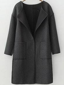 Black Long Sleeve Contrast Trims Pockets Coat