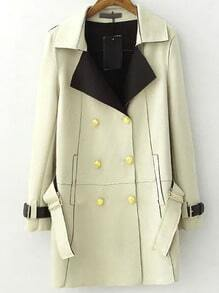 Yellow Lapel Double Breasted Belt Coat