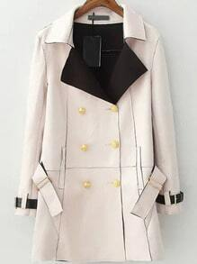 Pink Lapel Double Breasted Belt Coat