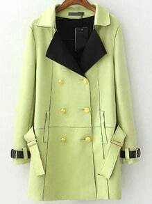 Green Lapel Double Breasted Belt Coat