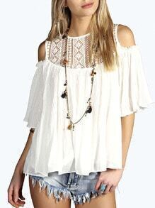 White Lace Insert Cold Shoulder Pleated Top