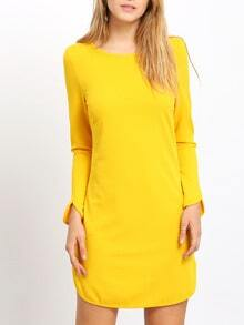 Yellow Long Sleeve Backless Straight Dress