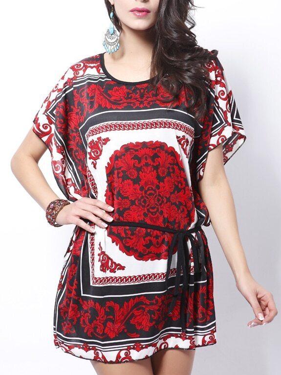 Black Red Florals Dolman Shift Dress