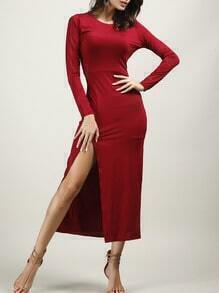 Wine Red Long Sleeve Slit Dress