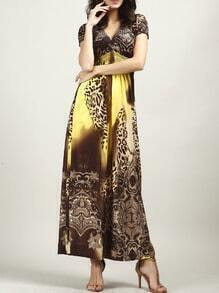 Yellow V Neck Leopard Maxi Dress