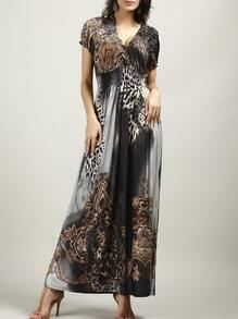 Grey V Neck Leopard Maxi Dress