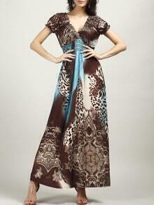Coffee V Neck Leopard Maxi Dress