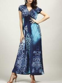 Blue V Neck Leopard Maxi Dress