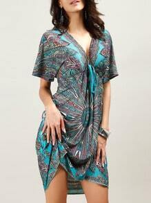 Green V Neck Paisley Print Shift Dress