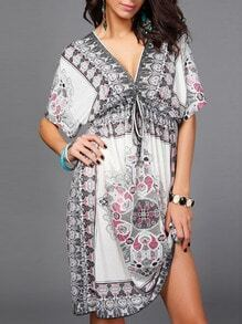 White Deep V Neck Vintage Print Shift Dress