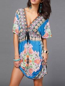 Blue Deep V Neck Vintage Print Shift Dress