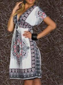 White V Neck Florals Shift Dress