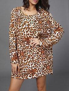 Yellow Long Sleeve Leopard Shift Dress