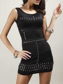 Black Sleeveless Rivets Bodycon Dress