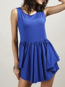 Blue Sleeveless Asymmetrical Skater Dress