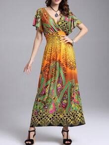 Yellow V Neck Paisley Print Dress