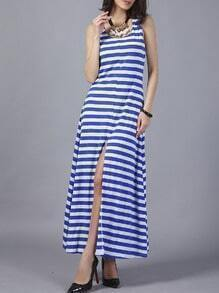 Blue White Striped Slit Dress