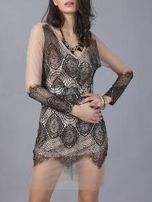 Black V Neck Sheer Lace Slim Dress