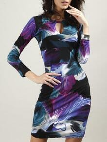 Purple Keyhole Ink Print Bodycon Dress