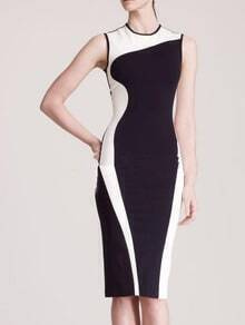Black White Sleeveless Zipper Slim Dress