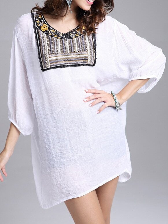 White Bead Embroidered Loose Top