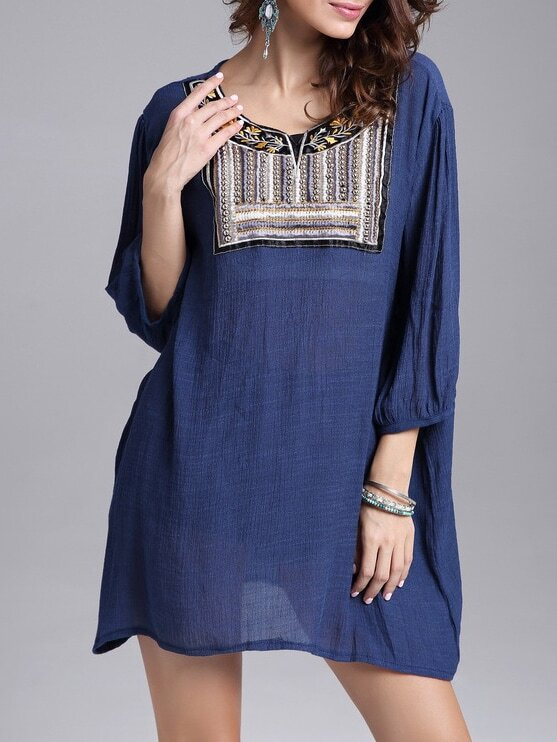 Navy Bead Embroidered Loose Top